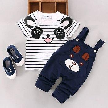 b7da72fb4 Niños recién nacidos bebé niño dibujos animados Panda Camiseta de algodón a  rayas + Pantalones de oso pantalones unids 2 piezas conjunto de trajes