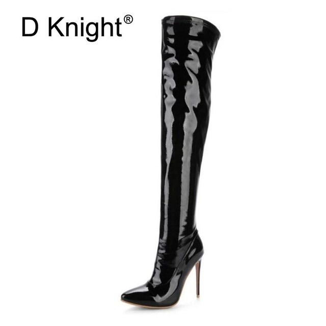 Sexy Steel Pipe Dance Boots Plus Size 33-48 Patent Leather Over The Knee Boots Fashion Side Zip Platform High Heels Shoes Woman