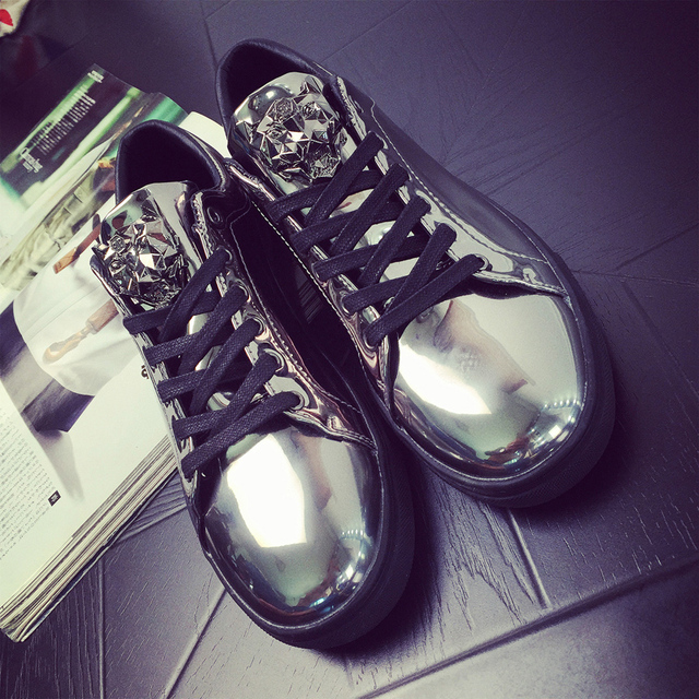 2016  Gold lace-up Fashion Breathable Men Casual Shoes Femme Flats  patent leather Trainers Zapatillas Deportivas shoes