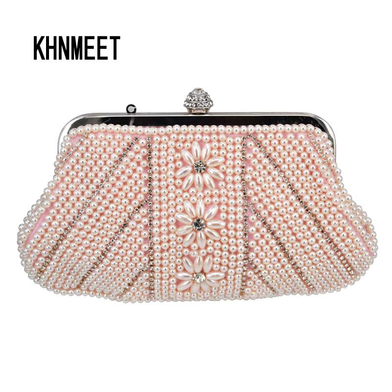 Us 19 99 45 Off Fashion Pink Pearl Women Party Purse Beaded Wedding Bag White Soft Evening Prom Clutch With Wristlets In Top Handle Bags