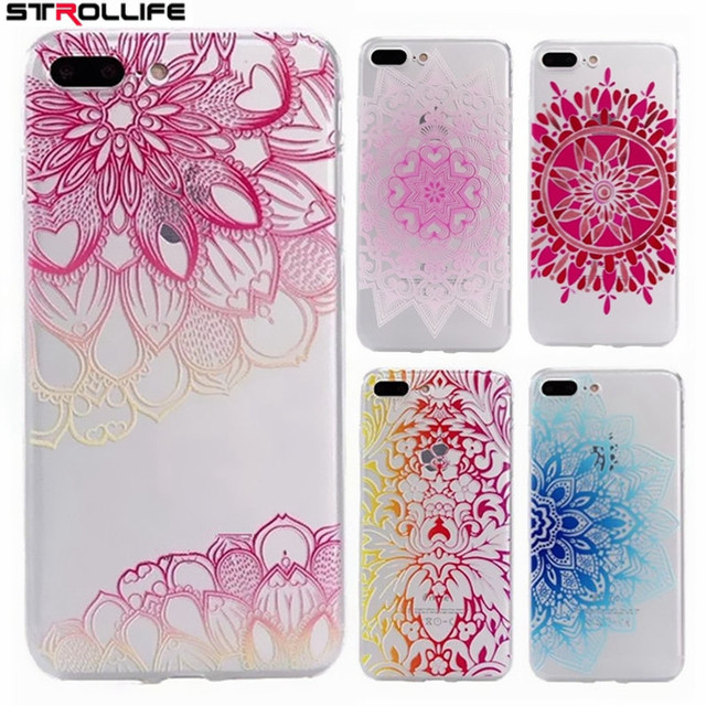 buy online 20d80 a3fee US $1.48 |STROLLIFE Colorful Floral Flower Henna Mandala Phone Case For  iphone 7Plus 6s 5 Soft TPU Clear Back Cover Capa Coque For iphone7-in  Fitted ...