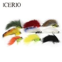 Icerio 9 peças #6 mudo sino olho zonker & matuka moscas serpentinas truta pesca com mosca iscas