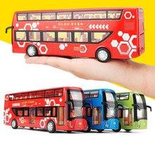 1:32 lichtmetalen trek bus model, hoge imitatie dubbeldekker, flash speelgoed voertuig, gratis verzending