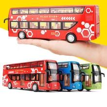 1:32 модель автобуса из сплава, двухслойный автобус с высокой имитацией, игрушечный автомобиль со вспышкой, бесплатная доставка