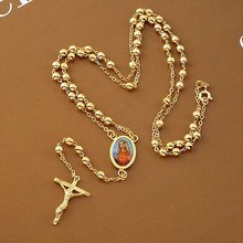 """Loyal women Cool pendant yellow gold gf cross necklace bead chain 23.6"""" 12G Not satisfied, 7 days no reason to refund"""