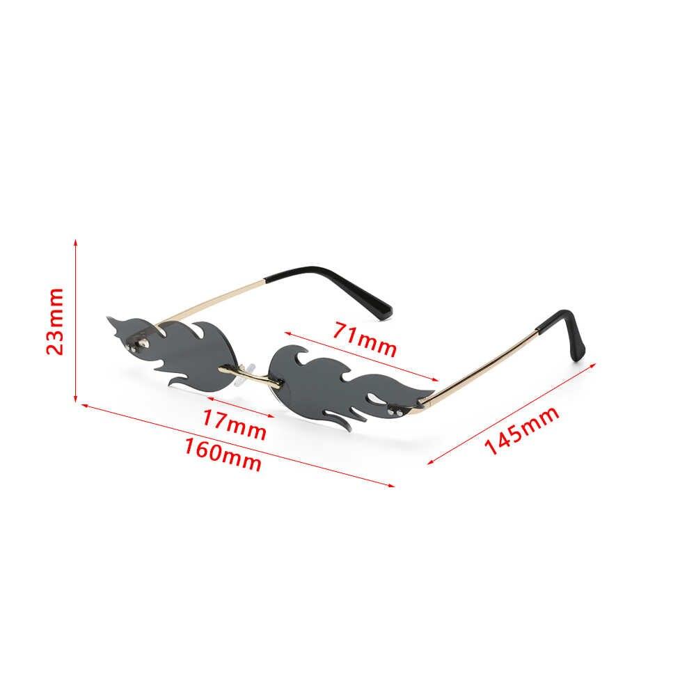 Fashion Api Kaca Mata Wanita Pria Tanpa Bingkai Gelombang Matahari Kacamata UV 400 Kacamata Mewah Tren Sempit Kacamata Hitam