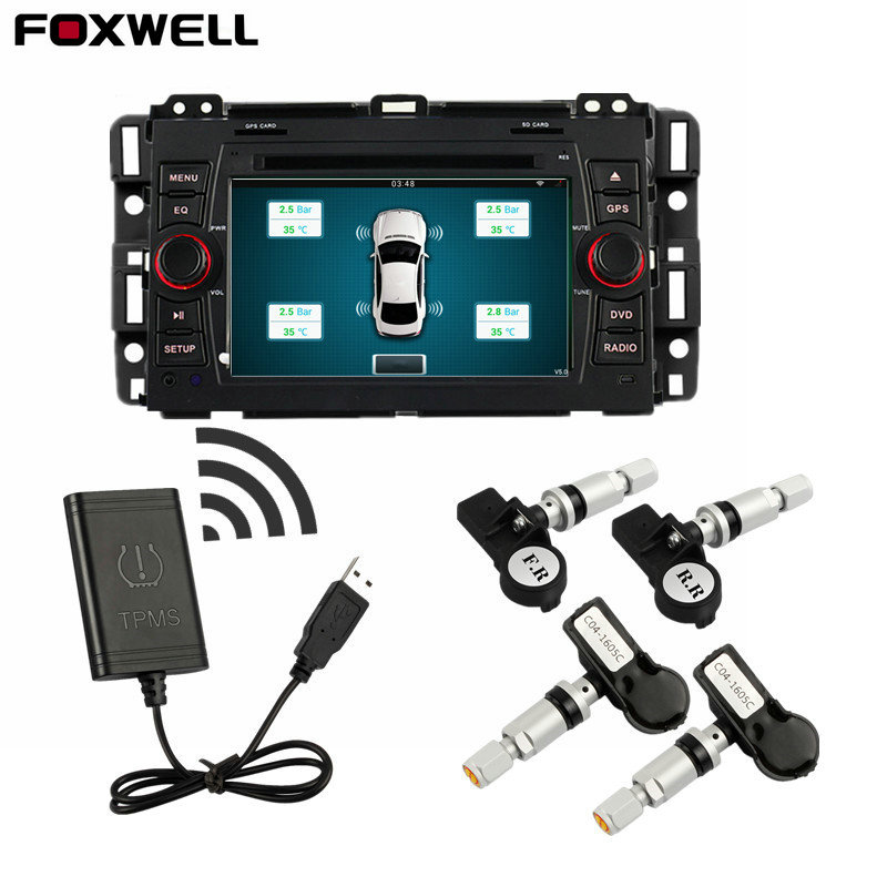 Foxwell TPMS for Android CAR DVD Car Tire Pressure Monitoring System 4 Sensors Alarm Tire Temperature Monitoring System Car Tool