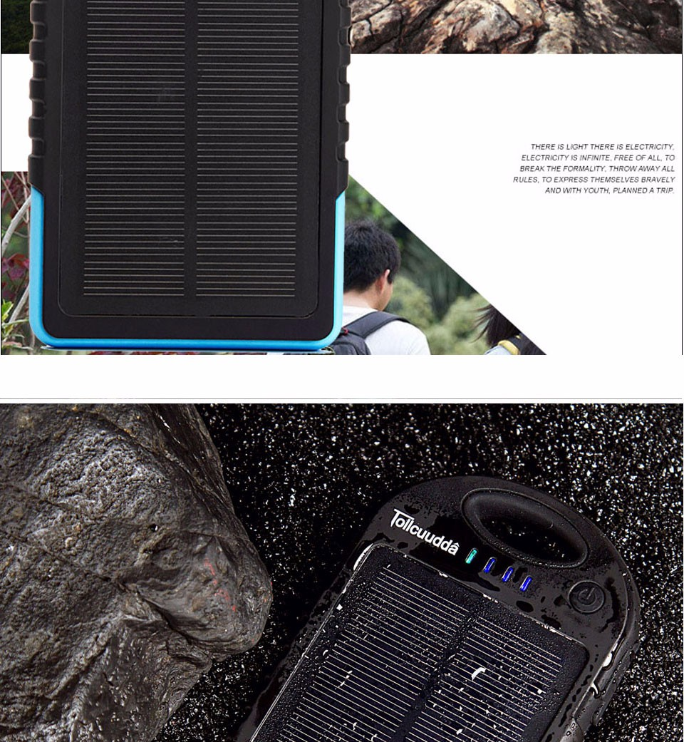 Tollcuudda Solar Panel Power Bank 100mAH Battery External Celular Charger Cargador For Xiao Mi universal Phone Solar PoverBank 27