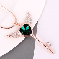 Üst klasik moda melek kanat kristal kalp anahtar kolye gül altın renk uzun kolye/toptan/collier/bijoux femme/halskette