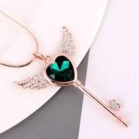 Top klassische mode engel flügel kristall herz schlüssel anhänger rose gold farbe lange halskette/großhandel/collier/bijoux femme/halskette