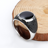 925 Sterling Silver Black Enamel Rings with Black Cubic Zirconia Stones Unique Vintage Ring for Men Women Unisex Fashion Jewelry