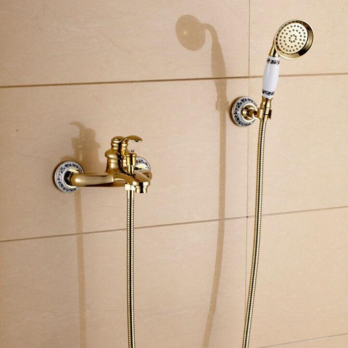 Wall Mount Bathroom Handshower Faucet Single Handle Bath Shower Mixer Taps Golden Color