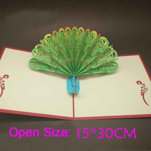 10pcs lot laser cut party invitations foldable 3d peacock greeting