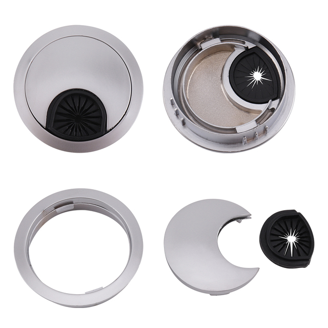 50mm 60mm Dia Desk Table Grommet Cable Hole Cover Home Office Computer Desk  Wire Hole Cover