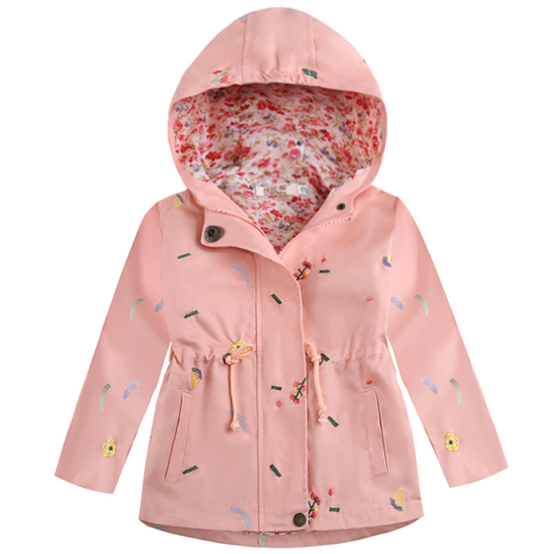 Embroidered Kids Girl Trench For Spring Autumn Coats 3 4 5 7 Years Baby Girls Outerwear Flower Hooded Trench Children Clothing