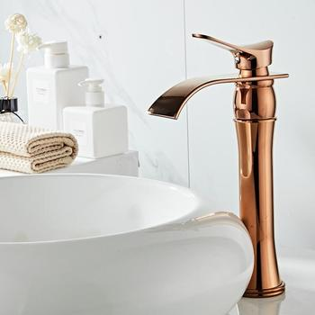Basin Faucet Rose Gold Bathroom Faucet hot and cold Gold Crane Brass Basin Faucet Waterfall Sink Faucet Single Handle water tap