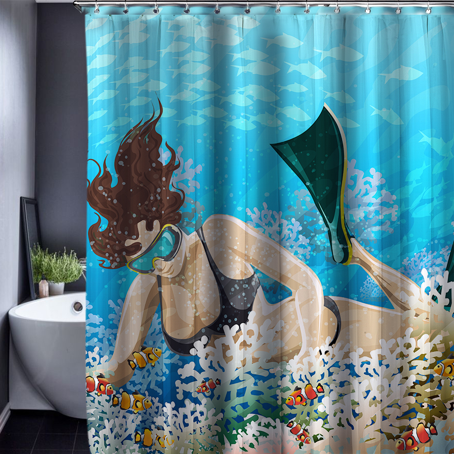 Mermaid bathroom - Mermaid Patten Customized Shower Curtain Bathroom Accessories Waterproof Bathroom Fabric Polyester Shower Curtains