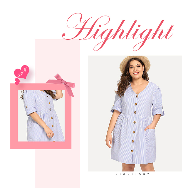 Dotfashion Plus Size Blue Roll-Up Sleeve Stripe Shirt Dress Women Casual 2019 Summer A Line V Neck Fit And Flare Short Dress 4