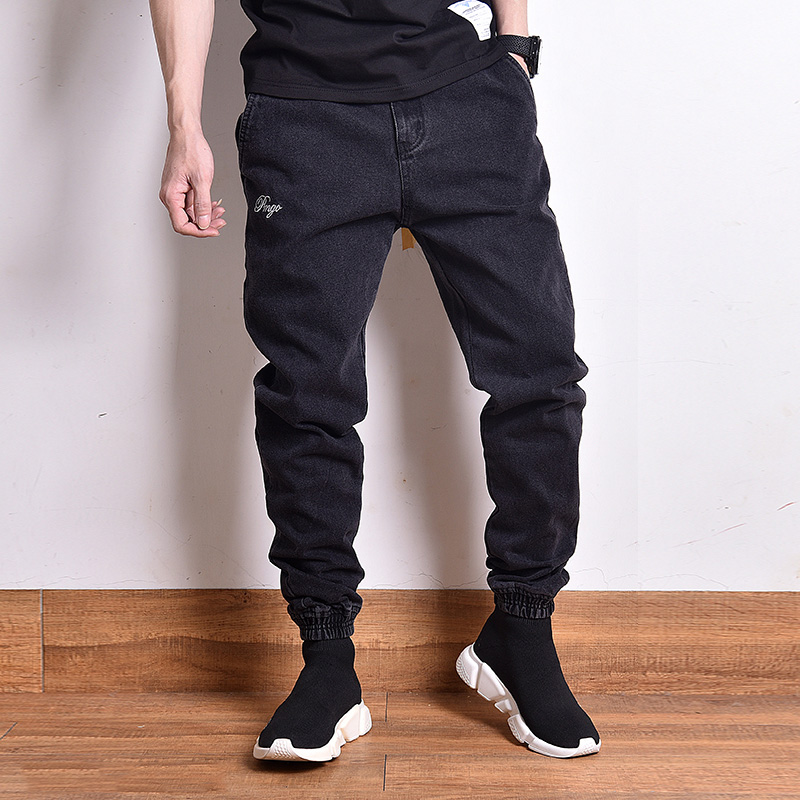 Fashion Streetwear Men Jeans Black Color Vintage Designer Slack Bottom Cargo Pants Homme Japanese Style Hip Hop Jogger Jeans Men