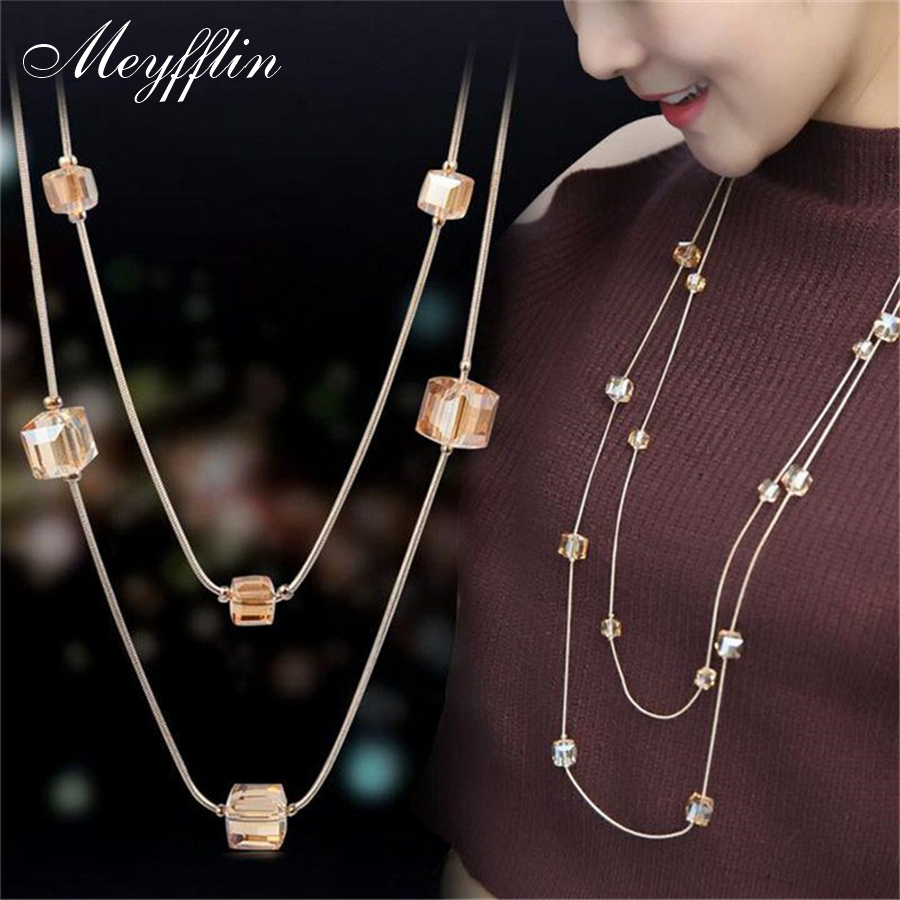 Collares Mujer Fashion Statement Halsband & Hängen Guld Crystal Layered Necklace Kvinnor Long Collier Femme Maxi Smycken Bijoux