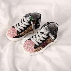 2018 Autunno Nuovo Paillettes Scarpe Per Bambini Retro del Panno Della Ragazza Scarpe Per Bambini I Bambini delle Cinture di Star Casual Del Bambino Paillettes Scarpe per Bambini