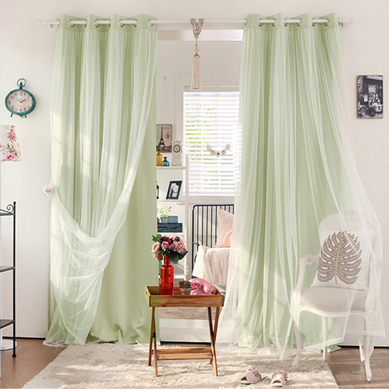 awesome light green living room curtains   Urijk Light Green Double Layer Blackout Curtains White ...