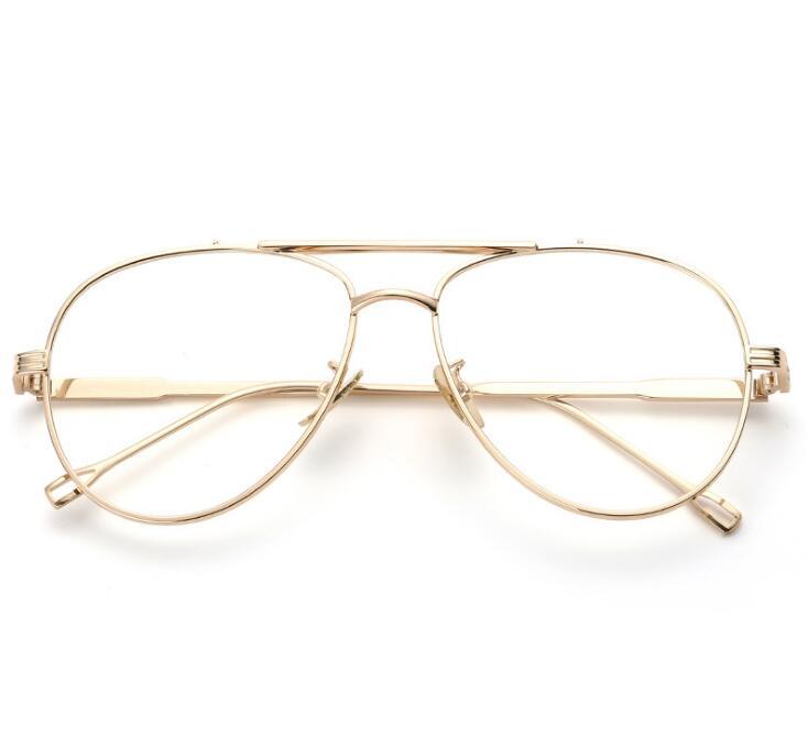 Mode luftfahrt Quadratischen Metall Rahmen Plain Gläser Männer ...