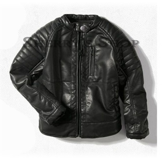 Free Shipping Nwt Kids Boys Faux Leather Motorcycle Jacket Black