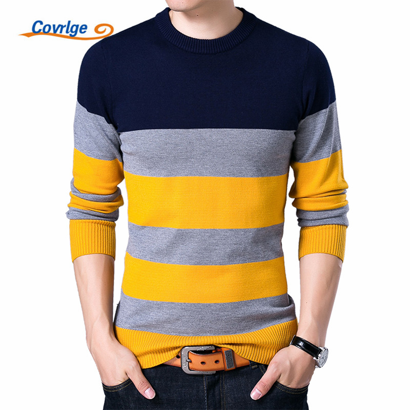 Covrlge Pullover Male New Fashion Red Black Striped Sweater 2017 Spring Autumn O-neck Men Wool Sweaters Slimfit Shirt MZL006