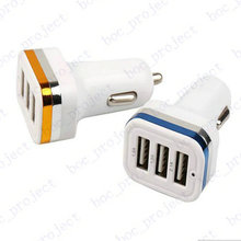3 usb Port 4 color Dual Port Car Charger USB Adapter for ipad iphone 6s 6 plus 5 5S Samsung s6 edge s5 s4 note5 4 3 100pcs/lot