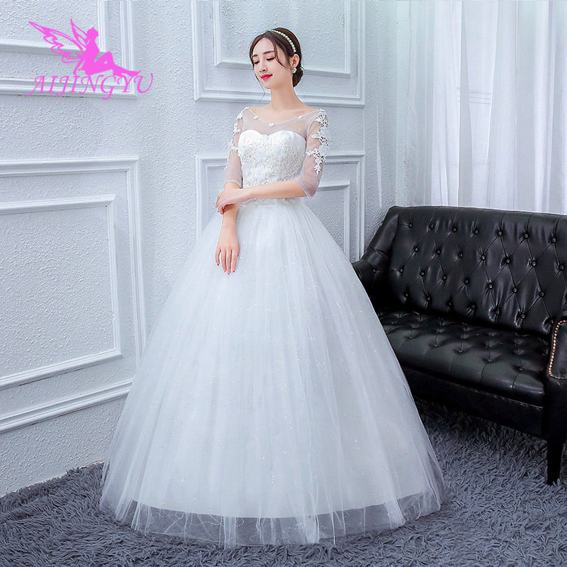AIJINGYU 2018 Real Photos Free Shipping New Hot Selling Cheap Ball Gown Lace Up Back Formal Bride Dresses Wedding Dress FU294