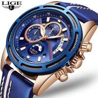 Relogio LIGE для мужчин s часы лучший бренд класса люкс мужчин's Военная Униформа Спортивные Повседневные часы, кожа водонепроница кварцевые часы