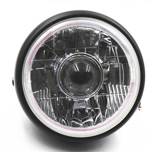 цена Universal Black Headlight Lamp Hi/Lo Beam Amber/Blue Angel Eye Projector Motorcycle Cruiser Chopper Cafe Racer Old School Bobber