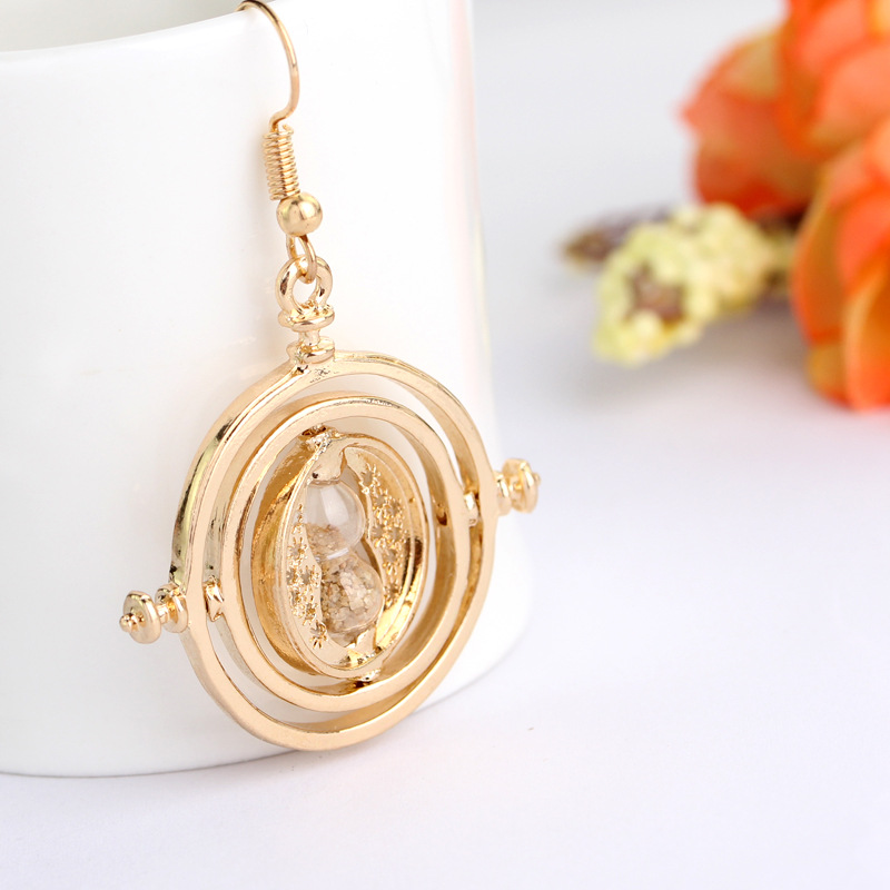 1 pcs Harry Potter Time Turner Necklace Movie Jewelry Hermione Granger Rotating Hourglass Earrings Horcruxes Magic Earrings