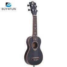 Ukulele Soprano ultra-mince de 21 pouces, guitare à 4 cordes en épicéa, couleur spéciale noire