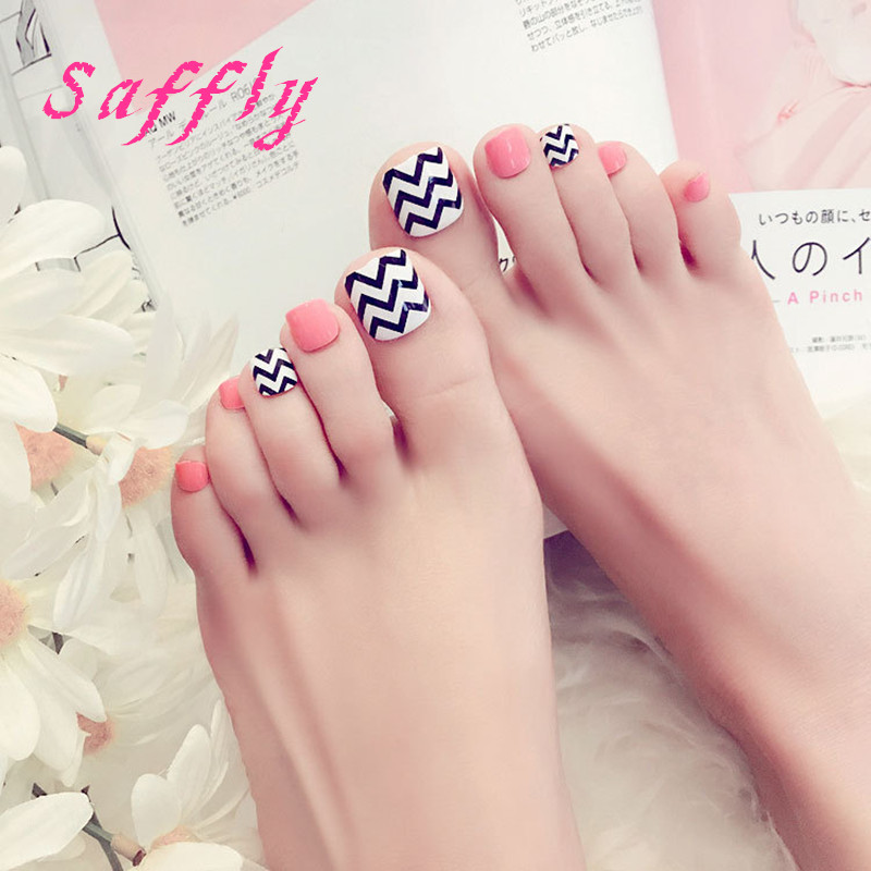 buy saffly beautiful summer pink toenails simple wave stripe style foot patch 24pcsset refreshing color foot nails for girl from