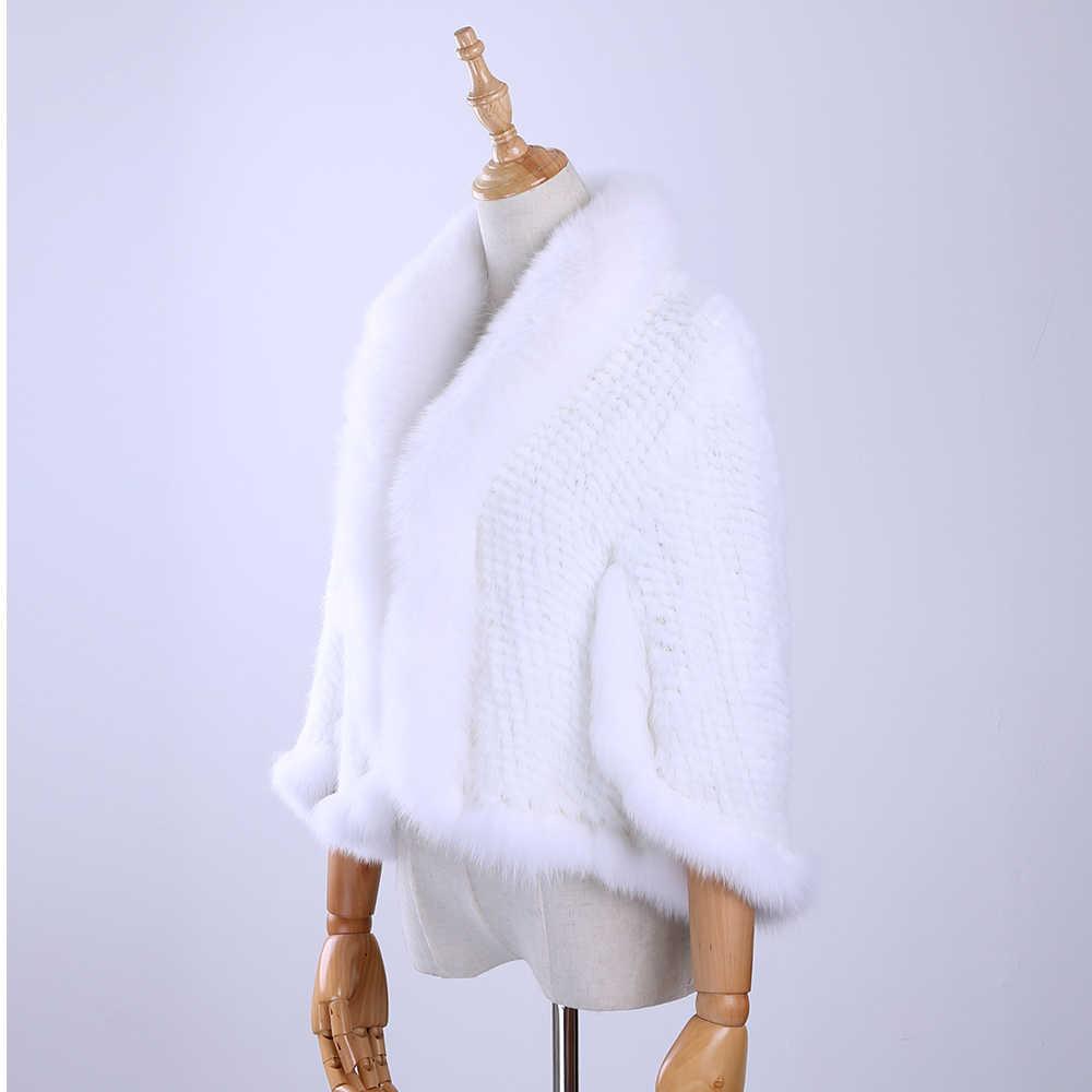 Ücretsiz Kargo Yeni Orijinal Örme Vizon Kürk Şal Wrap Pelerin Tilki kürk yakalı Kırpma kadın Bayan vizon kürk ceket Çaldı