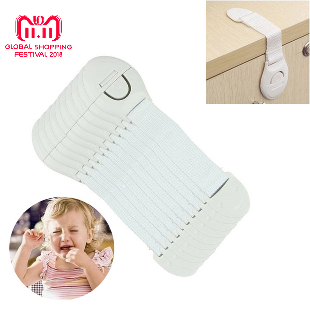 10Pcs Safety Plastic Children Protection Lock Cabinet Door Drawers Refrigerator Toilet Blockers Kids Baby Care Safety Lock Strap safety 10 pcs cabinet drawer cupboard refrigerator toilet door closet plastic lock baby safety lockcare child safety atrq0140 page 6