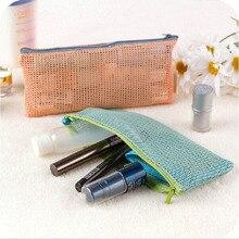 2016 Beautician Nylon Mesh Cosmetic Bags Bath Wash Makeup Make Up Cosmetic Bag Korean Organizer Storage Travel Toiletry Bags 42