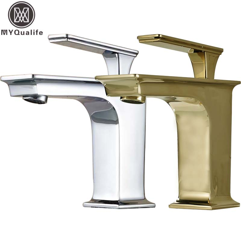 купить Free Shipping Bathroom Vessel Sink Mixer Faucet Single Handle Hot and Cold Water Tap Square Shaped Wash Basin Sink Taps по цене 3590.27 рублей