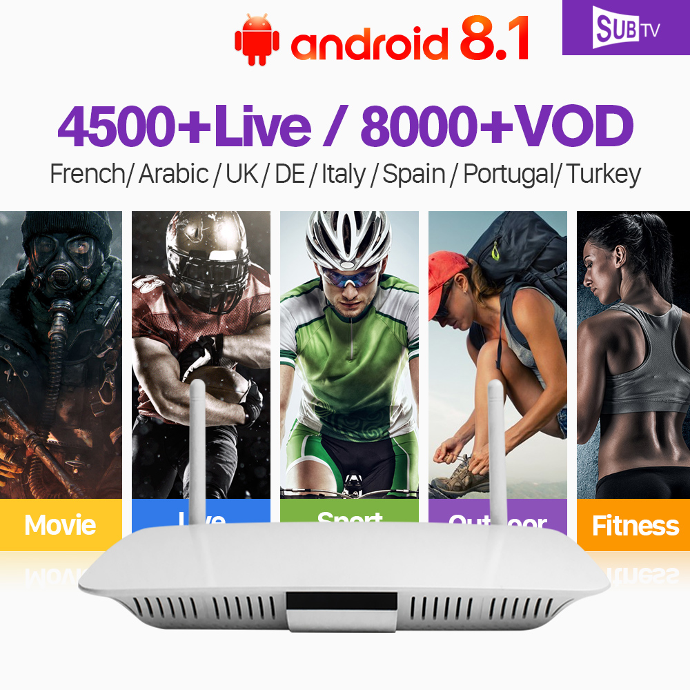 France Arabic IPTV Box Q1404 TV Receiver Android 8.1 with SUBTV IPTV France Arabic Portugal Turkey Subscription IPTV Italy