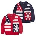 New kids outono/inverno desgaste Crianças camisola do miúdo camisola moda casual cardigans blusas listradas bebê do menino 5 tamanho para 2-6 T