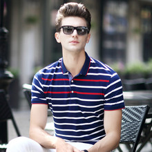 New arrival 2018 summer mens Elegant Pure cotton Stripe polo shirts short-sleeve  men's casual tops Tees clothings 87169