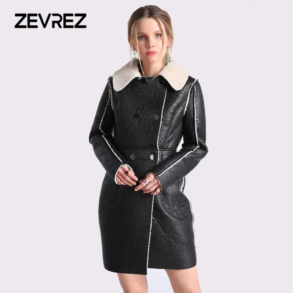 2018 Autumn Winter Long   Leather   Jackets Women Long Sleeve Black Artificial   Leather   Lamb Wool Warm Female Jacket Coat 4XL Zevrez