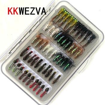 KKWEZVA 50 Uds combinación Nymph Mosca de pesca moscas insectos diferentes estilos salmón señuelos de pesca con mosca de trucha aparejo de pesca|Señuelos de pesca| |  -