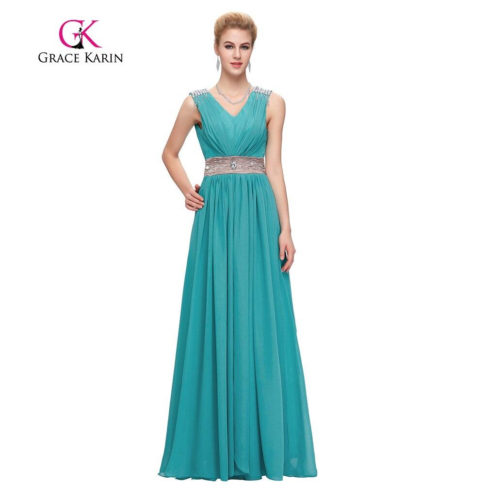 Vestidos de noche color azul turquesa - Grace Karin Partido Prom Vestidos Vestido De Noche Largo De Color Turquesa Gris Rojo Elegante Cuello