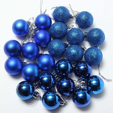 24Pcs Chic Christmas Baubles Tree Plain Glitter XMAS Ornament Ball Decoration Purple