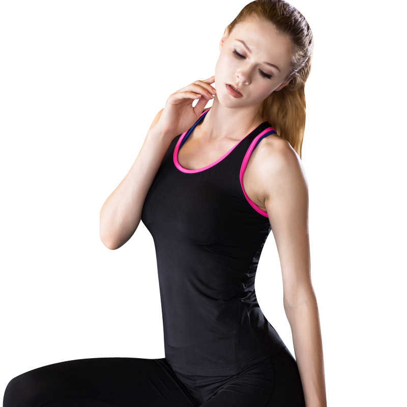 2019 Hot Yoga Shirt Sport Running Vest Women Compression Base Layer Dry Fit Vest Top With Fluorescence stripe GYM Clothing S-XXL
