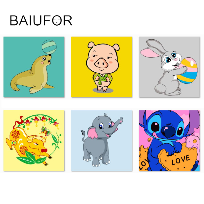 Amazing BAIUFOR Cartoon Cute Animals Anime Pattern DIY Oil Painting By Numbers Hand Painted  Painting Children Room Decoration 20*20cm