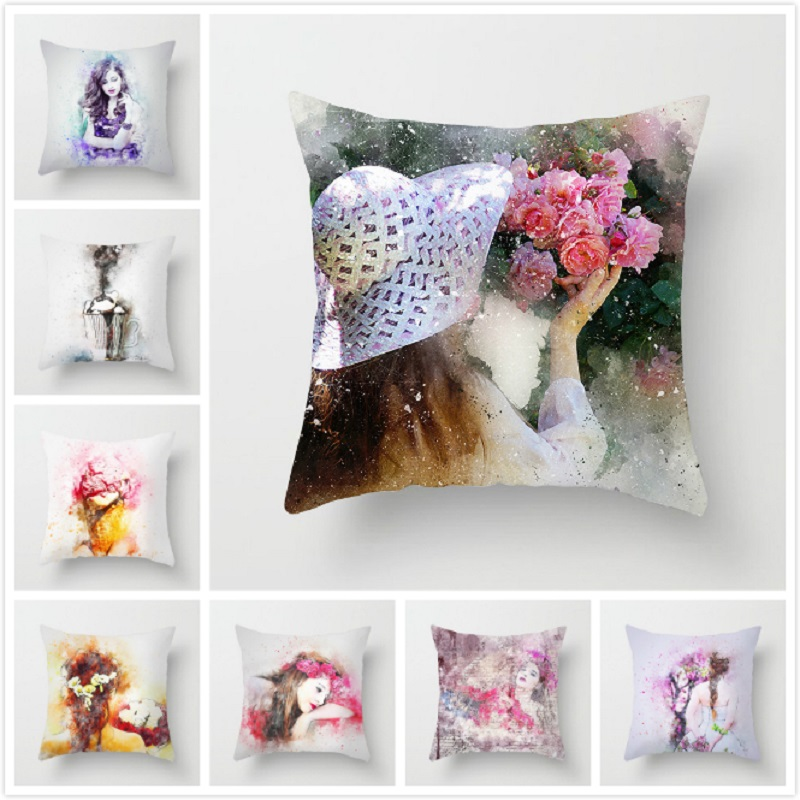 Fuwatacchi Elegant Lady Beautiful Girl Cushion Cover Pillow Case Decorative Throw Pillowcase Sofa Home